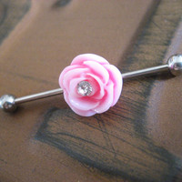 Industrial Barbell Piercing Bar Earring Jewelry Pink Rose Flower CZ Gem Crystal Rhinestone14g 14 G Gauge