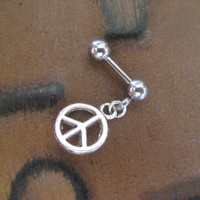 Peace Sign Cartilage Tragus Charm Dangle Earring Ear Jewelry Bar Barbell 16g 16 G Gauge