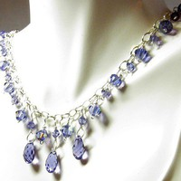 Tanzanite Crystal Drop Necklace Set | Gemtwists - Jewelry on ArtFire