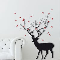 Christmas Deer With Birds Wall Sticker