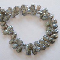 Labradorite Briolette Gemstone AAA Mystic Grey Faceted Teardrop 11 to 13mm 1/2 Strand
