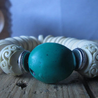 Tibetan Turquoise , White Shell, Cinnabar, Statement, Stretch Bracelet