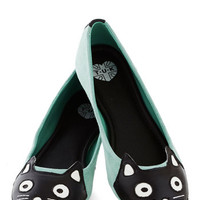Up Your Alley Cat Flat in Mint | Mod Retro Vintage Flats | ModCloth.com
