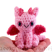 Dragon Amigurumi Crocheted Toy in Pink by GeekyCuteCrochet on Etsy
