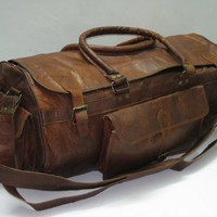 Leather Duffel Gym Overnight Cabin Travel Bag Large Pure Genuine 24...... | GenuineProducts - Bags & Purses on ArtFire