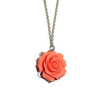 Peach Rose Charm Necklace