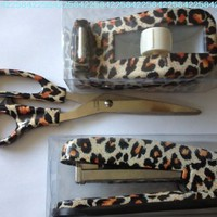 Leopard Print Desk Set - Scissors Tape Dispenser and Stapler:Amazon:Everything Else