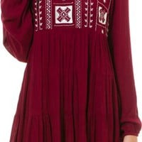 ANGIE LONG SLEEVE EMBROIDERED DRESS | Swell.com