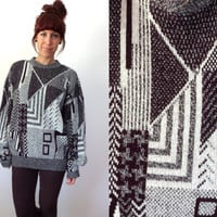 80's 90's Geometric Black & White Oversized Boyfriend Sweater