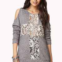 Crochet Lace Cross Pullover | FOREVER 21 - 2002246178