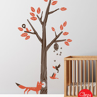Wall Decal Nursery Tree Decal - Modern Nursery Decor - Fox, Birds, Bees, Bee Hive