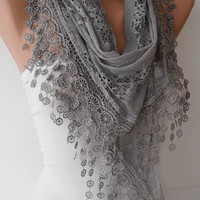 Christmas Gift -  Gray Lace Scarf with Trim Edge