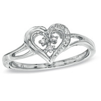 Diamond Accent Heart-Shaped Promise Ring in Sterling Silver