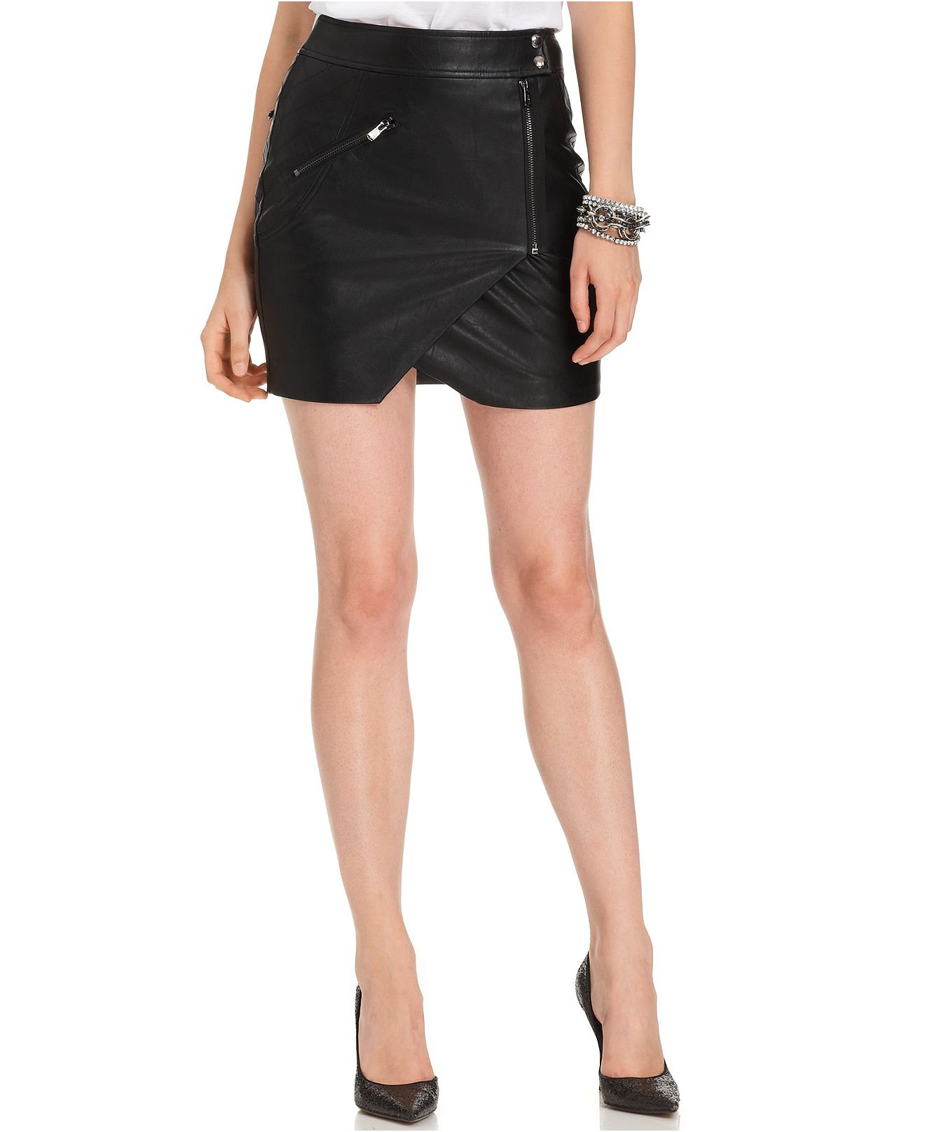 guess skirt faux leather mo from macys on wanelo