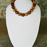 SALE Chunky Wood Bead Necklace - Golden Honey Mocha Cafe Coffee Reclaimed Wood Gorgeous Round Woodland Boho Chic Natural Necklace by Mei Fa