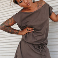 Brown Knit Dress Grecian Tie Belt Style Womens Clothing Cotton Knit in Chocolate Tshirt Tunic Blouse