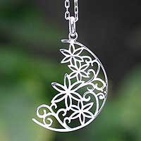 Silver pendant necklace - Crescent Moon Bouquet - NOVICA