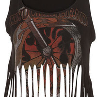 Fringed Motif Crop - Jersey Tops  - Clothing  - Topshop USA
