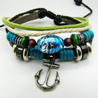 Soft Leather Bracelet Anchor Pendant Women Men by braceletcool