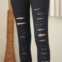 S M L XL Rock punk Emo black Destroyed ripped Jeans Grunge women Skinny stretch LOW RISE fit cotton spandex pants fall
