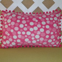 Girl's Polka Dot Fleece Accent Pillow in Soft Shades of Pink and White