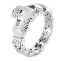 Stainless Steel Claddagh Ring with Celtic Knot Eternity Design (4mm) - Size 7