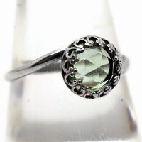 Green Fluorite Ring, Fluorite Engagement Ring, Silver Cocktail Ring, Green Gemstone Ring