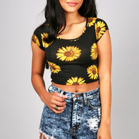 Sunshine Flower Crop Top | Trendy Tops at Pink Ice