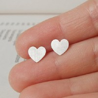 Supermarket: sterling silver Sweet Heart earring studs, handmade from Huiyi Tan Handmade Designer Jewelry