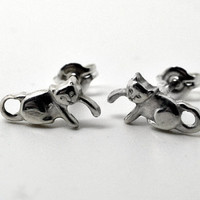 Silver Kitten Earrings Sterling Silver Studs Animal by fifthheaven