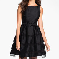 Taylor Dresses Tonal Stripe Fit & Flare Dress (Regular & Petite) | Nordstrom