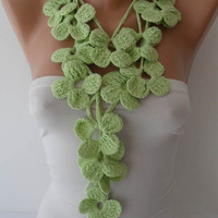 Winter Chic - Handknit flowered scarf -  Light Green Scarf