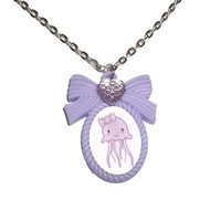 Squid Necklace, Kawaii Lilac Pastel Cameo Necklace