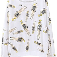 ROMWE | Barbie Doll Print White Sweatshirt, The Latest Street Fashion