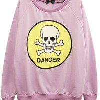 ROMWE | DANGER Skull Print Purple Sweatshirt, The Latest Street Fashion