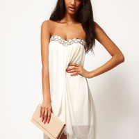 ASOS | ASOS Strapless Dress In Mesh With Embellished Bust at ASOS