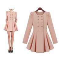 Zicac Ladies Women Bodycon Elegant Double-breasted Autumn Coat Jacket