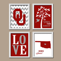 University of Oklahoma OU Boomer Sooner College Custom Family Monogram Initial State LOVE Bird Tree Wedding Date Set of 4 Prints Wall Decor
