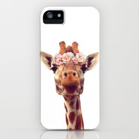 Flower crown giraffe iPhone & iPod Case by fyyff