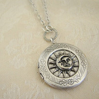 Silver Moon Face Sun Moon Star Locket  by BackstreetCreations