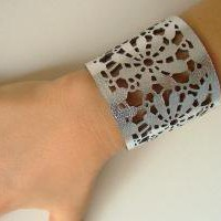 Silver Leather Lace Around The Wrist by LemkaB on Etsy