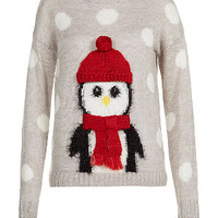 Grey Penguin Christmas Jumper