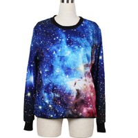 Juniors Neon Galaxy Cosmic Colorful Patterns Print Roll Neck Sweatshirt Sweaters