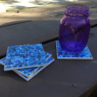 Blue Tile Coasters (set of 4)