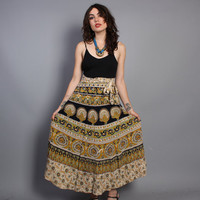 70s Indian WRAP SKIRT / Ethnic Batik PEACOCKS Print Maxi, xs-m