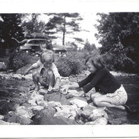 Sisters Playing in the River, 3 vintage old photographs, old black and white snapshot  photos great for crafting