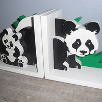 vintage Panda bear bookends ... wooden 3 D