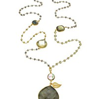 Catherine Page Gold Labradorite Quartz Citrine and Abalone Ardha Long Pendant Necklace - Max & Chloe