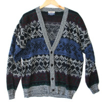 Vintage 80s Nordic Snowflake Cosby Cardigan Ugly Sweater - The Ugly Sweater Shop