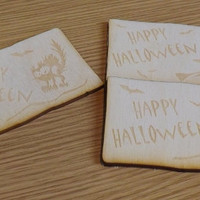 Halloween Wooden Card, Gift Idea, Beech Wood, Lasercut